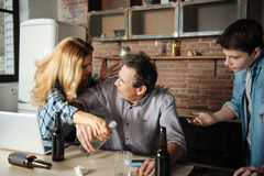 Scared male person looking at his wife Stock Photography