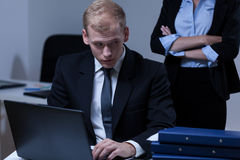 Scared male worker in the office. Horizontal Royalty Free Stock Image