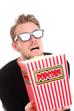 Scared man in 3D-glasses Royalty Free Stock Photography
