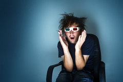 Scared man with 3d glasses Stock Photography