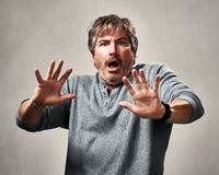 Scared man face. stock photo