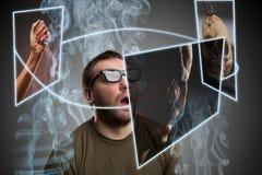 Scared man in glasses Stock Image