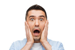 Scared man shouting Royalty Free Stock Images