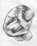 Scared man sketch. Hand drawn pencil sketch of a scared man trying to hide when it's nowhere to hide royalty free illustration