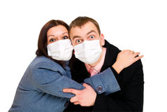 Scared man and woman dressings mask royalty free stock image