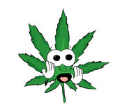 Scared marihuana cartoon Stock Photography