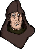Scared Medieval Man. With hood on isolated background Stock Photo