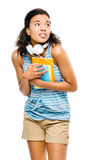 Scared mixed race woman student going back to school Royalty Free Stock Photography