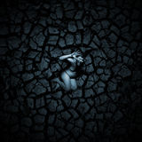 Scared naked man. On the cracked soil Stock Photography