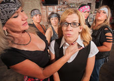 Scared Nerd with Tough Woman Stock Images
