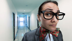 Scared office girl Stock Photography