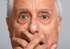 Scared old man Royalty Free Stock Photography