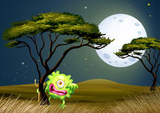 A scared one-eyed monster under the fullmoon Royalty Free Stock Photography
