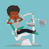 Scared patient in dental chair vector illustration Stock Photography