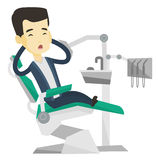 Scared patient in dental chair vector illustration Royalty Free Stock Photo