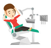 Scared patient in dental chair vector illustration Stock Photos
