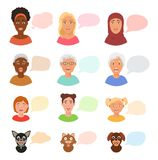Scared people face with speech bubbles vector frightened woman or girl characters scary in panic and afraid nervous girl Royalty Free Stock Photography