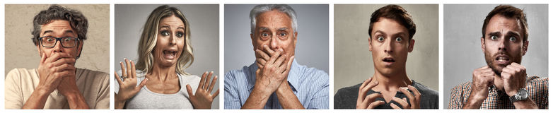 Scared people faces set Royalty Free Stock Photography