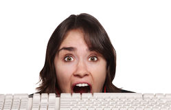 Scared Person and Keyboard Royalty Free Stock Photo