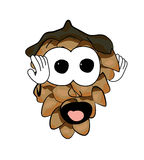 Scared pine cone cartoon character Stock Image