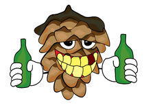 Scared pine cone cartoon character Stock Images
