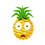 Scared pineapple face. Cute cartoon emoji character vector Illustration Royalty Free Stock Images