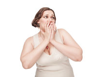 Scared plus size woman Royalty Free Stock Photography