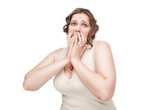 Scared plus size woman Stock Photos