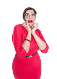 Scared plus size woman in glasses isolated Royalty Free Stock Photography