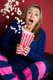 Scared Popcorn Girl Royalty Free Stock Images