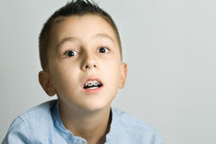 Scared. Portrait of a scared young boy Stock Photography