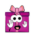 Scared Present box cartoon Royalty Free Stock Photos