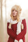 Scared pretty fashion woman in fur winter hat Stock Photos