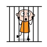 Scared Prisoner Face Expression in Prison. Vector Stock Photo
