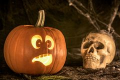 Scared pumpkin and human skull Stock Images