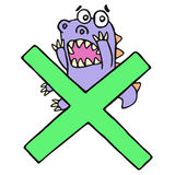 Scared purple dragon and big green cross mark. Vector illustration. royalty free stock photo