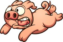 Scared running pig. Vector clip art illustration with simple gradients. All in a single layer royalty free illustration