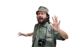 Scared safari photographer royalty free stock photo