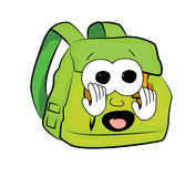 Scared School bag cartoon Stock Image