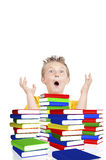 Scared schoolboy from school with books Stock Photography