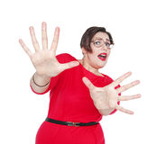 Scared screaming beautiful plus size woman. Focus on hands Royalty Free Stock Photos