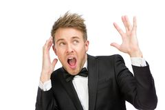 Scared and screaming executive with hands up Royalty Free Stock Photo