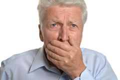 Scared senior man Royalty Free Stock Photography