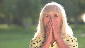 Scared senior woman. stock video