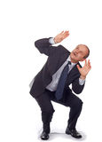 Scared and shocked businessman. Businessman scared and shoked-isolated on white royalty free stock photography