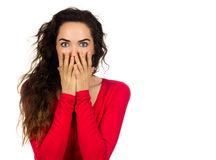 Scared shocked woman. A scared and shocked woman covering her mouth in surprise. Isolated on white stock photo