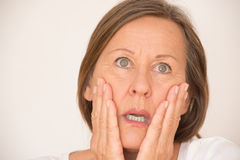 Scared shocked woman portrait Royalty Free Stock Photography