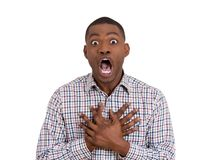 Scared shocked young man Stock Photo