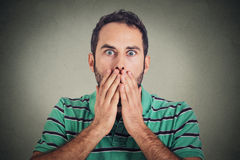 Scared shocked young man Royalty Free Stock Image