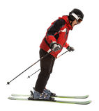 Scared skier man Stock Images